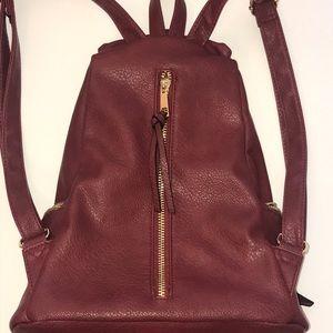 Maroon backpack purse